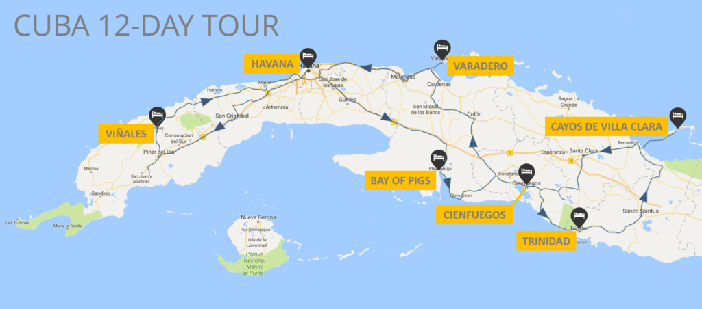 12-day map Cuba motorcycle tours site