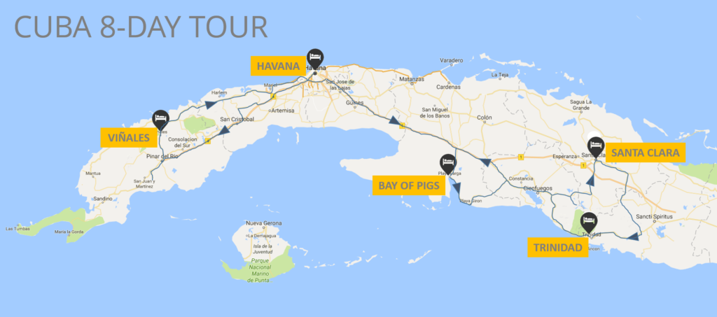 8-day map Cuba motorcycle tour