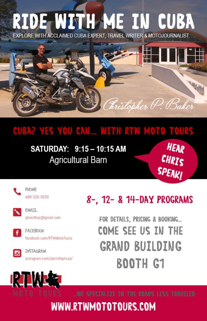 cuba motorcycle tours cuba expert motojournalist christopher p baker to speak about. Black Bedroom Furniture Sets. Home Design Ideas